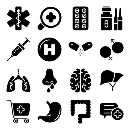 Pack of Medical Tools Solid Icons