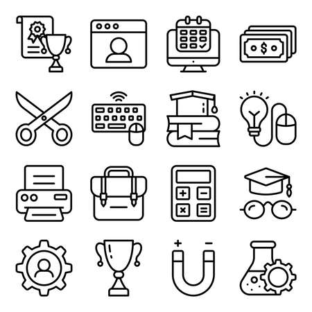 Pack of Education and Learning Linear Icons Vektorgrafik