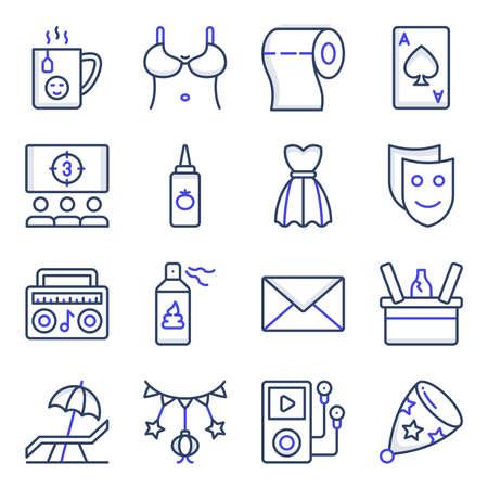 Pack of Party and Celebration Flat Icons Vektoros illusztráció