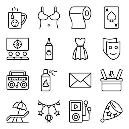 Pack of Party and Celebration Linear Icons Vektoros illusztráció