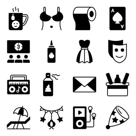 Pack of Party and Celebration Solid Icons Vektoros illusztráció