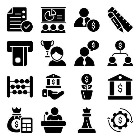 Pack of Business and Ecommerce Glyph Icons Векторная Иллюстрация