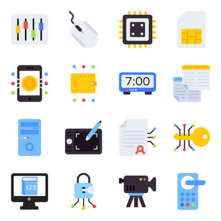 Pack of Technology Flat Icons