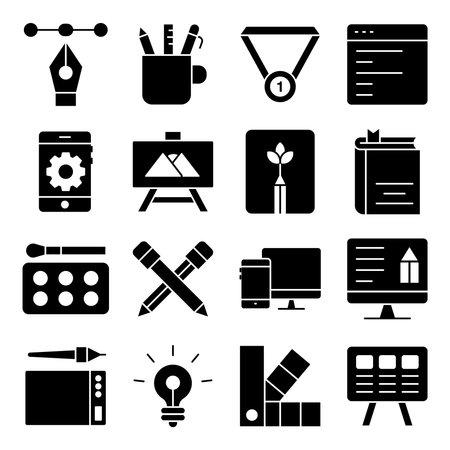 Pack of Photographic Tools Solid Icons Ilustração Vetorial