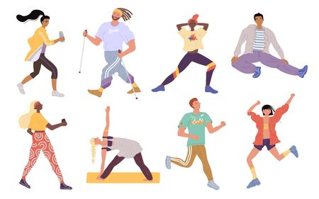 Vector active sports young people set. Crowd of men, women, trainer performing various activities. Characters running, nordic walking, stretching, standing yoga asana. Fitness, wellness and training
