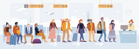 Multiethnic passengers in medical masks standing near registration desk, sitting in airport airline lounge. Men, women ready to board plane, return to homeland. Pandemic, epidemy vector illustration.