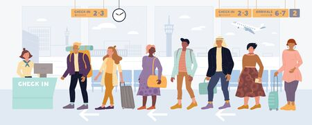 Multiracial men, women standing in queue to check in, drop off luggage at international airport. People, passengers lining up before registration desk. Travel, business trip vector flat illustration.