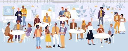Young men, women, students, romantic couples, business people spending time in cafe, dining area, food court. Visitors chatting, eating, negotiating, carrying food trays vector flat illustration. Vectores