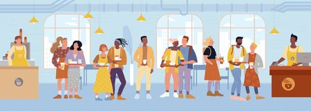 Cashier, barista standing behind counters, serving customers at cafe, restaurant. Students, teenagers, girl, boys keeping trays food, drinks lining up to pay at checkout. Vector flat illustration.