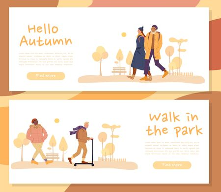 Warmly dressed multiethnic people, family couple walking, riding scooter on header banner set. Greeting autumn season cold weather. Walk in park. Fall season day. Landing page for website concepts