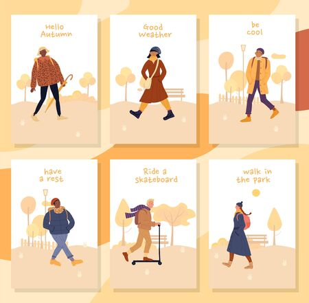 Motivation people to walk in park during fall cards set. Hello autumn, good weather, be cool, have rest, ride scooter inspiration. Diverse nation people in warm fashion clothes enjoy calm day activity