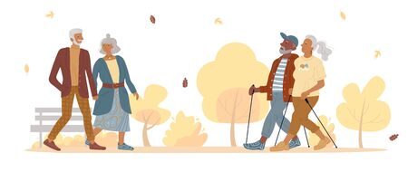 Old mature people couple walking in autumn park. Aged married man woman doing sport nordic walk. Fashion senior gentleman lady going holding hand together. Training for pensioners. Elderly recreation