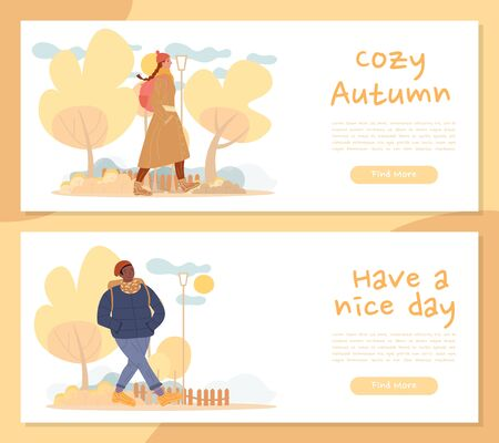 Young man woman take pleasure in cozy autumn, nice day. Multiethnic people walking in fall park enjoy outdoor seasonal rest, fresh air, healthy lifestyle. Motivational wisdom on header banner set