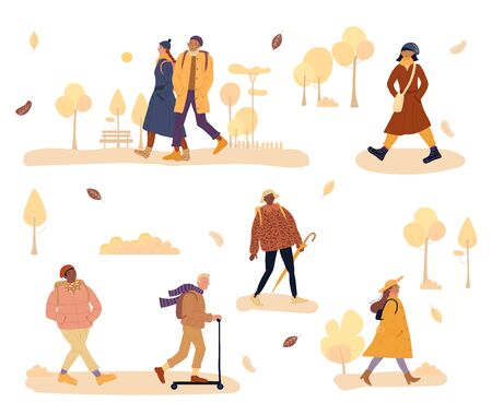 Warm dressed people walk, go to work, riding push kick scooter. Fashion woman, casual man, afro-american student, teenager caucasian girl, mix-race couple. Cold autumn weather. Falling leaves in park