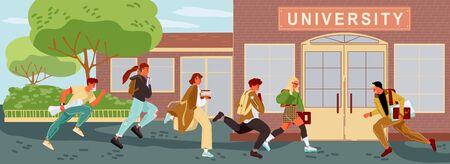 Students, teachers are late to lessons. Boys, girls keeping backpacks, books, hurry up, running to university near trees. Beginning of new academic year. Love of learning. Vector flat illustration.