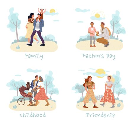 Teenager boy girl friends, pregnant woman man carrying daughter on shoulder, loving wife husband strolling baby in pram, daddy talking to son set. Family, father day, childhood, friendship relation