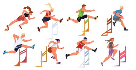 Hurdle race, female, male sportive jumping competition. Athletes, men, women taking part in steeplechase, obstacle running. Vector set flat illustration isolated on white background. Young champions.