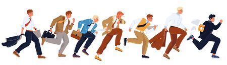 Businessmen in formal suits hurry up, running in row. Office workers, employees, managers trying to overtake each others, be first. Careerism, social climbing, place hunting vector flat illustration.