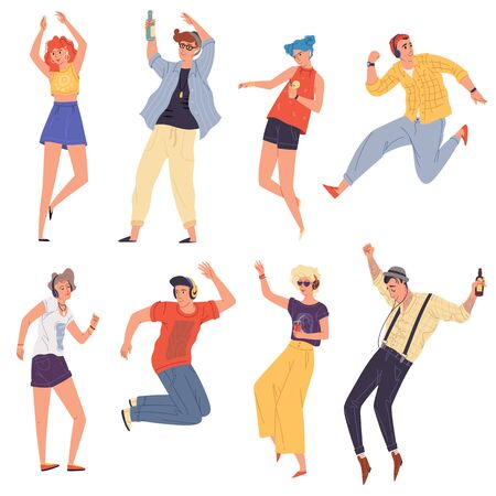 Young creative people, dancers, students in headphones dancing, jumping, rythmical moving. Girls, boys, guys, women, men having fun in night club, event, youth party. Vector flat set on white.