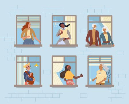 Neighbors in window. Neighborhood relationship communication. Senior couple, mature woman, teenager girl, mother holding newborn baby. Young, adult, mature people stay home during coronavirus Иллюстрация