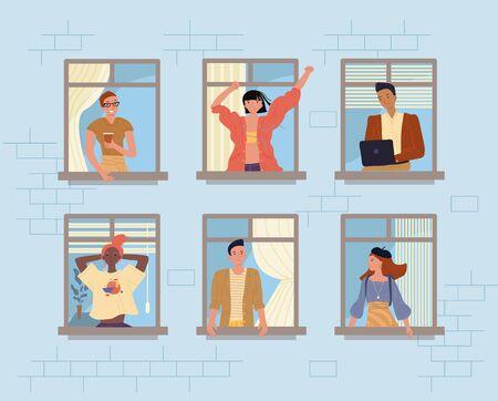 Happy neighbors and neighborhood. People in window. Diverse multiethnic man woman drinking coffee, talking, working online, enjoy city view. Building exterior. Stay home. Self isolation, coronavirus Vettoriali
