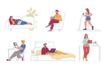 People use digital gadget. Man woman rest, do sport, work, cook, watch video on laptop, mobile tablet, phone at home. Wireless connection, technology globalization, reach ability. Internet surfing Vektoros illusztráció