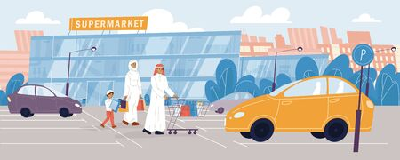 Happy arab family going to grocery store. Daily routine, everyday activity, food shopping. Father, mother, son in traditional dress hold purchases outdoor. Car at parking. City supermarket building