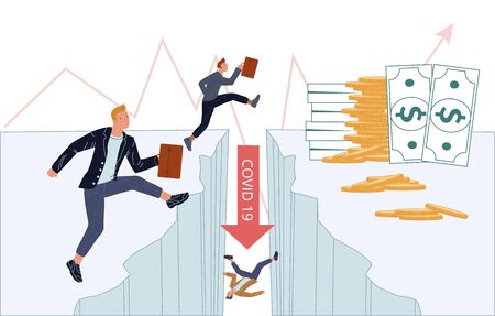 Financial crisis business crash due coronavirus. Businesspeople try conquer obstacle. Economics depression. Red arrow falling down cliff abyss. Money cash banknote gold coin stack on surface Çizim