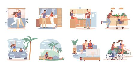 Loving couple daily activities time together everyday life scene set. Man woman sleep, do hygiene procedure, eat breakfast, have fun shopping, road trip by car bicycle, picnic, watch TV, communicate