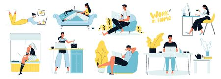 People freelancer working on laptop at home scenes set. Man woman programmer, software developer, designer sitting on sofa, armchair, cooking, at table indoor work. Remote business, comfort workplace