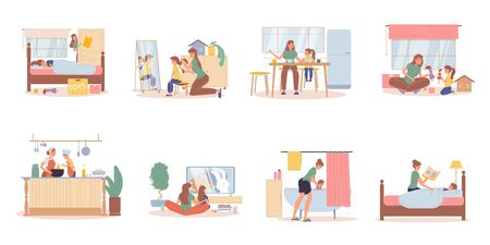 Mother preschool daughter daily life activities scene set. Parent kid morning awaking, making hairstyle, eating breakfast, playing toy doll, cooking, watching cartoons, taking bath, reading fairy tale