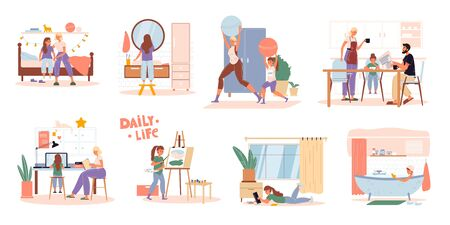Family children daily routine everyday activities scene set. Parent kid work, rest, do sport. Daughter get up, brush teeth, exercise, eat breakfast, study at home, learn to paint, read book, take bath