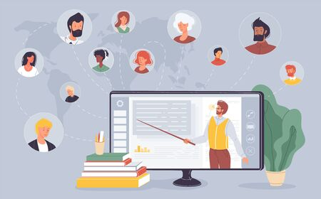 E-learning, education training. Social network. Educational platform. People connection. Business specialization, university study service. Teacher tutor conducting online lesson on computer screen