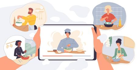Online cooking courses, culinary master class service. Internet school mobile application. Digital communication. Woman man watch video on tablet display. Chef teacher preparing food at kitchen Vecteurs