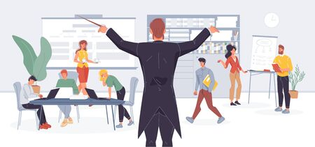 Businessman conductor managing office work by wood stick metaphor. Effective business time management, employee directing. Entrepreneurship, teamwork, coworking, healthy workflow condition maintenance