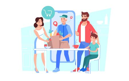 Man courier delivering online grocery order. Happy family purchase pay for food products distantly. Internet shopping fast delivery logistic service. E-commerce. Mobile application digital technology