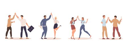 Happy business people colleague giving high five isolated set. Cheerful friendly smiling coworkers, partners making deal, achieving agreement greeting, celebrating success. Communication, partnership