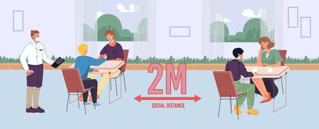 People maintaining safe social distance in cafe. Man woman friends communicating, eating in restaurant. Two meter space between visitor seats. Waiter wearing facial mask. New normal lifestyle