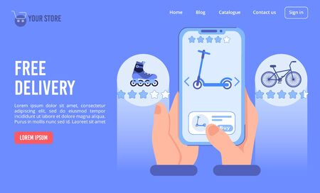 Free delivery service in online store offering bicycle, push kick scooter eco friendly sport transport. Internet shop presentation landing page. Human hand holding smartphone. Open app on touch screen