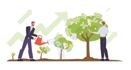 Businessman watering sprout, growing money tree, cutting cash banknote, gold coin, dollar bills dividends by scissors. Successful business income. Profitable investment project. Harvesting concept