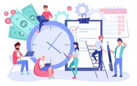 Effective workflow process organization. Work schedule planning, time management concept. Businesspeople, coworker productive working, checking to-do list, deadlines implementation, priority tasks