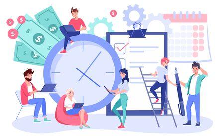 Organisation efficace des processus de workflow. Planification des horaires de travail, concept de gestion du temps. Hommes d'affaires, travail productif des collègues, vérification de la liste des tâches, mise en œuvre des délais, tâches prioritaires
