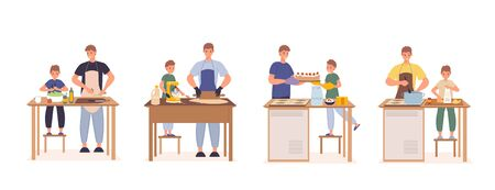 Happy father son cooking together at kitchen set. Parent son preparing green vegetarian salad, kneading dough, baking decorating cake, boiling fresh soup. Family recreation. Relationship communication