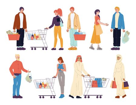 Mix race diverse people buyer with shop purchases, grocery products in trolley cart, basket, paper bag isolated set. Bundle caucasian islamic man woman shopping. Shopper or consumers character