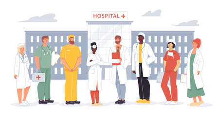 Professional hospital staff. Medical doctor nurse team. People in uniform standing on clinic yard. Man woman surgeon, therapists, dentists, ophthalmologist, practitioner, cardiologist specialist group Ilustración de vector