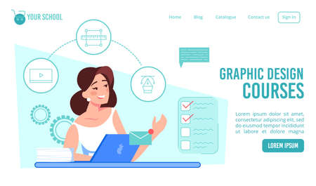 Graphic design courses. Online art school landing page template. Woman student future designer studying on laptop learning new creative profession improving skills. Remote education, e-learning Ilustração