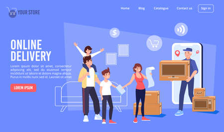 Electronics store online delivery service. Happy family children meeting courier delivering purchase to door. Buy goods home appliance via internet. Mobile trekking application. Landing page design