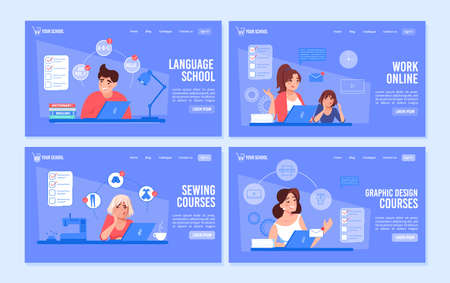 Online education courses. Language class, graphic design lesson, sewing clothes modeling training. Remote work, freelance self-employment. Man woman studying working on laptop. Landing page set