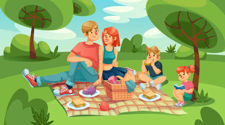 Happy loving family kids on picnic in green park. Mother, father, daughter and son rest outdoor together. Parent hugging, son eating sandwich, daughter reading book. Summer leisure. Nature landscape