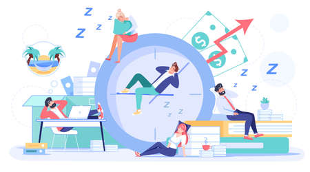 Employee sleeping at workplace. Overworked man woman worker falling asleep on alarm clock, office desk wasting time postponing work. Businesspeople taking nap. Procrastination, laziness